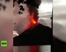 The eruption of the Anak Krakatoa volcano that caused the devastating tsunami