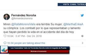 'insensibles' comentarios de Fernández Noroña sobre la tragedia de Puebla
