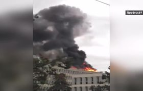 #Video shows fire and explosion at the University of Lyon in France