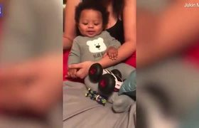 Baby has hilarious reaction as his grandma tries to cut his nails