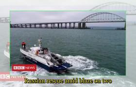 Ships catch fire after blast near Crimea