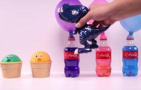 Aprendiendo los colores con Coca Cola, globos, PJ Masks cabezas incorrectas y juguetes sorpresa
