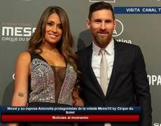Messi and his wife Antonella protagonists of the evening Messi10 by Cirque du Soleil
