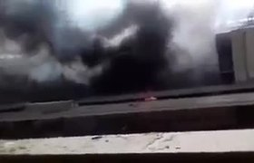 Egypt train fire: Deadly blaze at Cairo's main railway station (top building view)