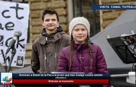 Nominan a Nobel de la Paz a la joven que hizo huelga contra cambio climático