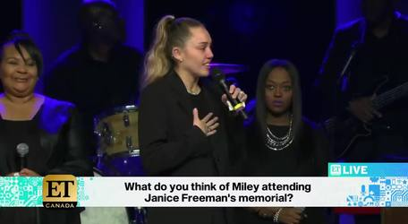 Miley Cyrus In Tears At Janice Freeman Memorial