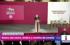 AMLO celebra a Emiliano Zapata con boleto del metro, timbre y cachito de Lotería