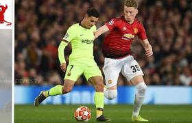 Lionel Messi left with BLOOD POURING down his face as Barcelona edge Manchester United