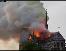 Notre Dame cathedral in Paris on fire