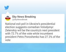 Comediante gana las elecciones presidenciales de Ucrania