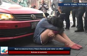 Mujer se estaciona frente a Palacio Nacional; pide hablar con AMLO
