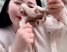 #VIRAL: Octopus Bites Chinese Blogger's Face | Tries to Eat it Alive | Octopus Attack Woman