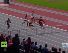 Superman dive' at finish line gives 400m hurdler dramatic victory