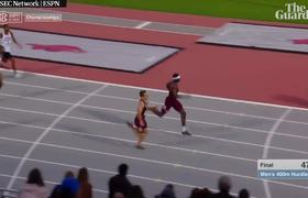 'Superman dive' at finishing line gives university athlete dramatic win in 400m hurdles