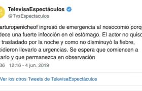 Arturo Peniche ingresa a urgencias de hospital en CDMX
