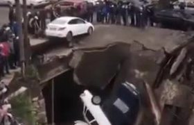 A bridge collapses with several cars over in the south of Russia