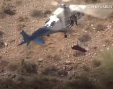 Helicopter rescue turns scary as stretcher spins