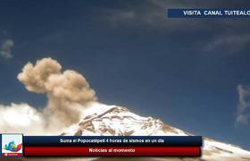 Suma el Popocatépetl 4 horas de sismos en un día