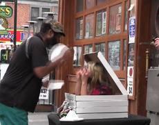 Street Prank Zombie Pizza