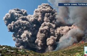 Erupción del Volcán Stromboli deja pueblo bajo las cenizas