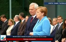 Merkel vuelve a temblar en público por tercera vez en un mes