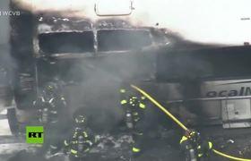 International students unhurt after US bus fire