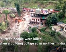 At least 14 killed in building collapse as monsoon batters India