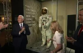 Armstrong's restored spacesuit goes on display