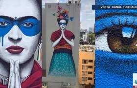 Dron captura imágenes de megamural de Frida Kahlo