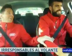 Lionel Messi asustado por como maneja Piqué su Audi