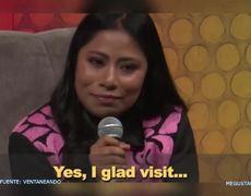 Yalitza Aparicio habla en ingles durante conferencia de prensa