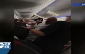 American Airlines passenger smashing laptop on husband's back