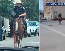Indigna imagen de un afroamericano amarrado y detenido en Galveston