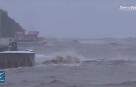 Llegada de el tifón Lekima a Wenling, China