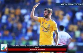 Tigres rinde homenaje a Gignac por sus 105 goles y anuncia escultura en su honor