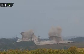 Three power plant towers demolished within seconds in UK