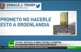 Trump publica la imagen de una enorme 'Torre #Trump' en Groenlandia entre casas pequeñas