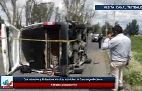 Dos muertos y 10 heridos al volcar combi en la Zumpango-Tecámac