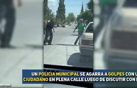 Ciudadano y policia pelean a Puño Limpio en Chihuahua