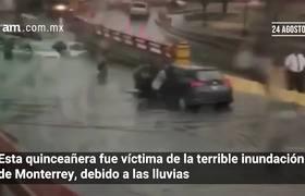 Quinceañera por poco se queda sin fiesta por lluvias en Monterrey