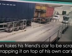 Incredible Video of Man Driving Around with Another Car on his Roof