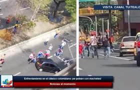 Enfrentamiento en el clásico colombiano ¡se pelean con machetes!