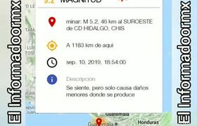 Sismo Magnitud 5.2 hoy 10/Septiembre/2019 Cd. Hidalgo, Chiapas