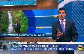 Woman's 50-foot waterfall plunge caught on camera