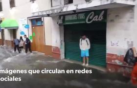 Tormenta ☔️ cae ésta mañana en el Puerto de Veracruz provoca calles inundadas