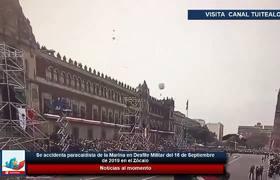 Se accidenta paracaidista de la Marina en Desfile Militar del 16 de Septiembre en el Zócalo