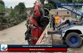 Intensas lluvias desbordan ríos en Chiapas