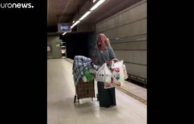 Video of the homeless woman singing in the Los Angeles Metro