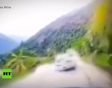 Giant rock falls on a car in China