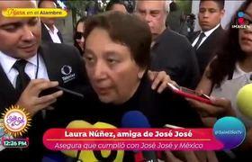 Laura Núñez habla tras los homenajes y entierro de José José